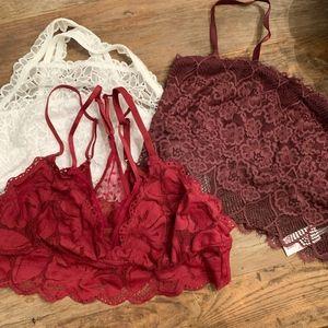Aerie Lace Bralettes Set of 3